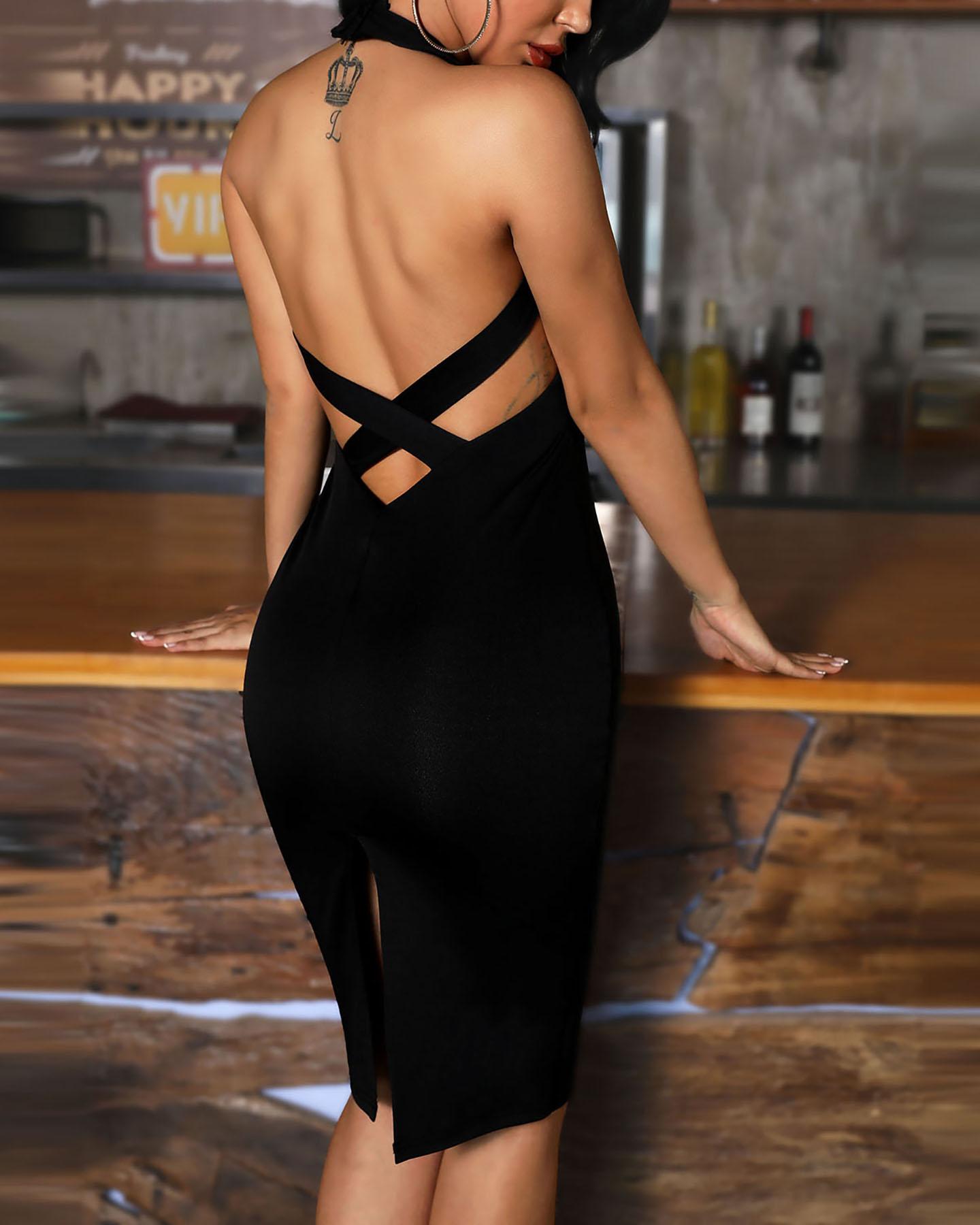 Sleeveless Bandage Design Bodycon Dress