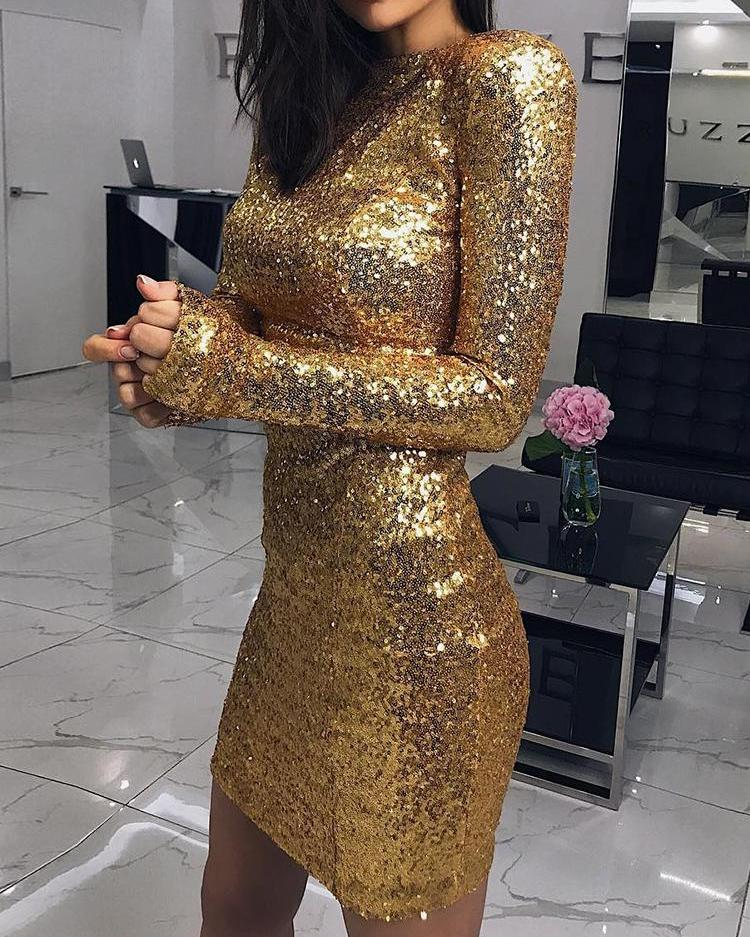 Shiny Long Sleeve Bodycon Sequin Party Dress