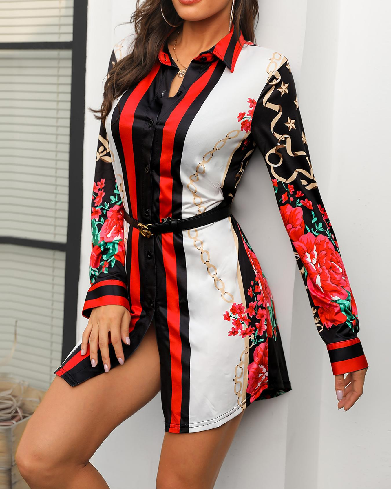 Mixed Print Long Sleeve Shirt Dress фото