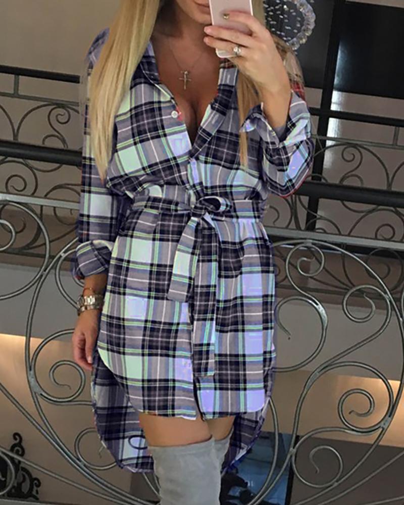 ivrose / Vestido camisero con botones y cintura larga