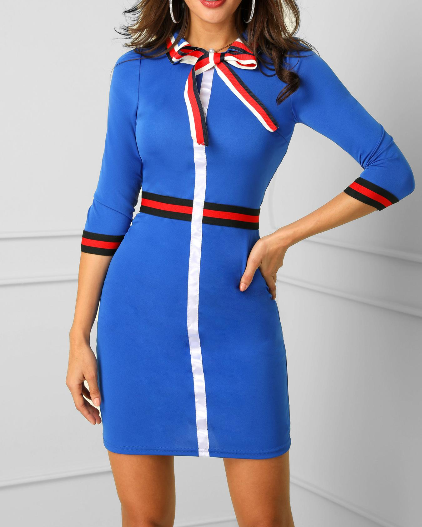 Striped Tape Insert Tied Neck Causal Dress