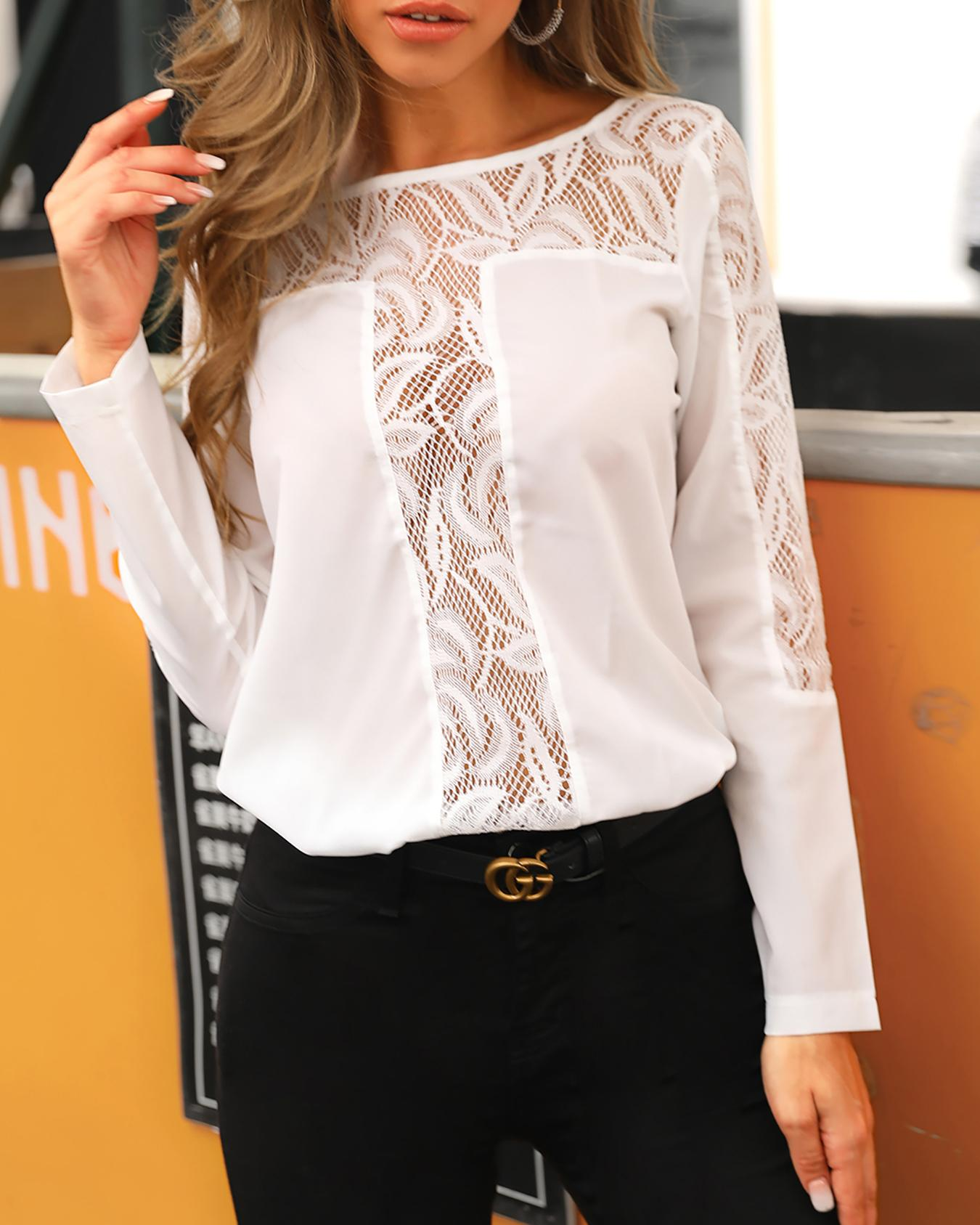 Long Sleeve Lace Insert Hollow Out Blouse
