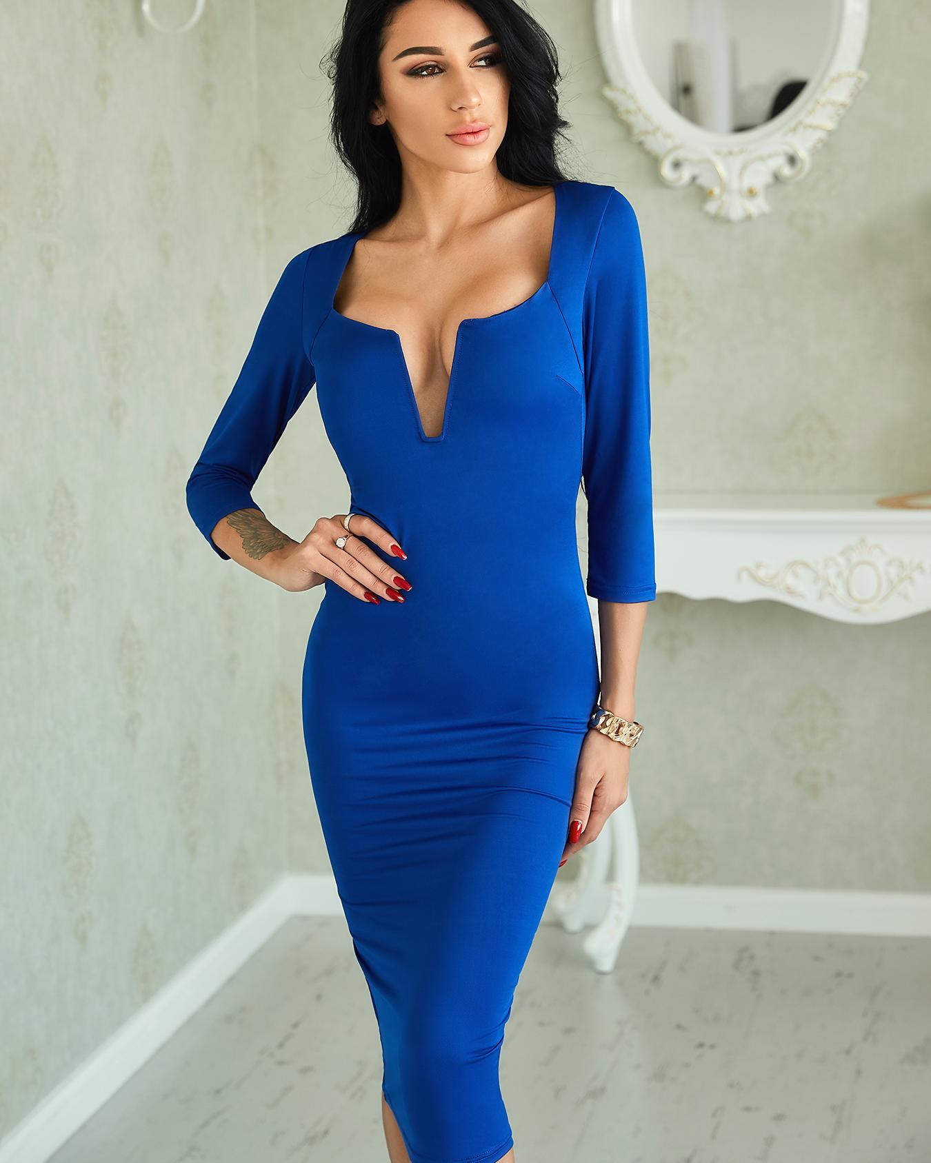 Sexy V Neck Solid Sheath Midi Dress фото