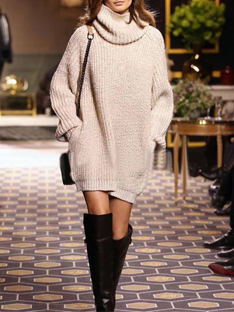 Trendy Loose Turtleneck Casual Sweater Dress