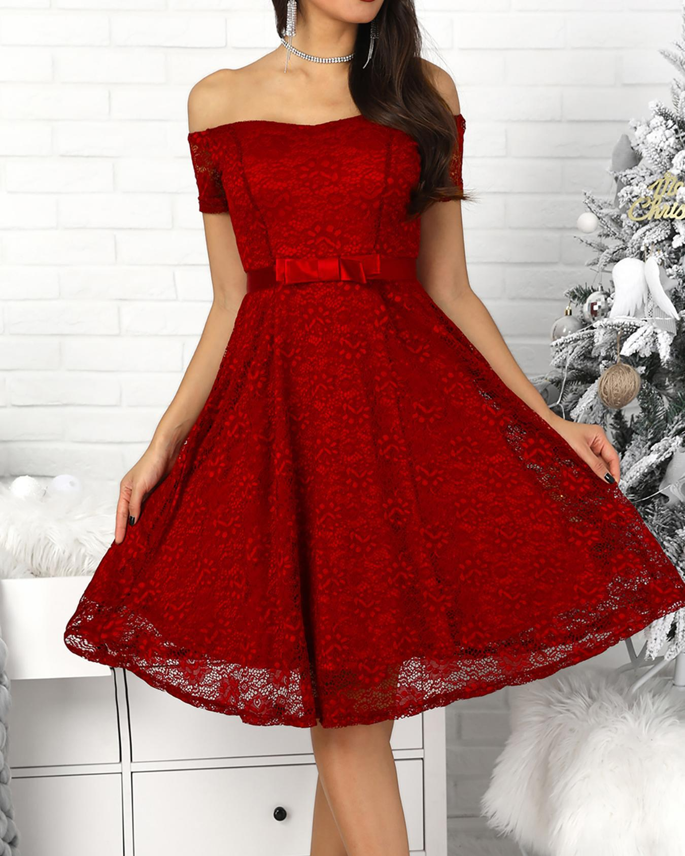 Knot Back Off Shoulder Lace Dress
