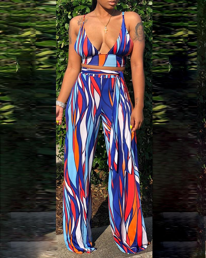 chicme / Abstract Geo Print Crop Top & Pant Sets