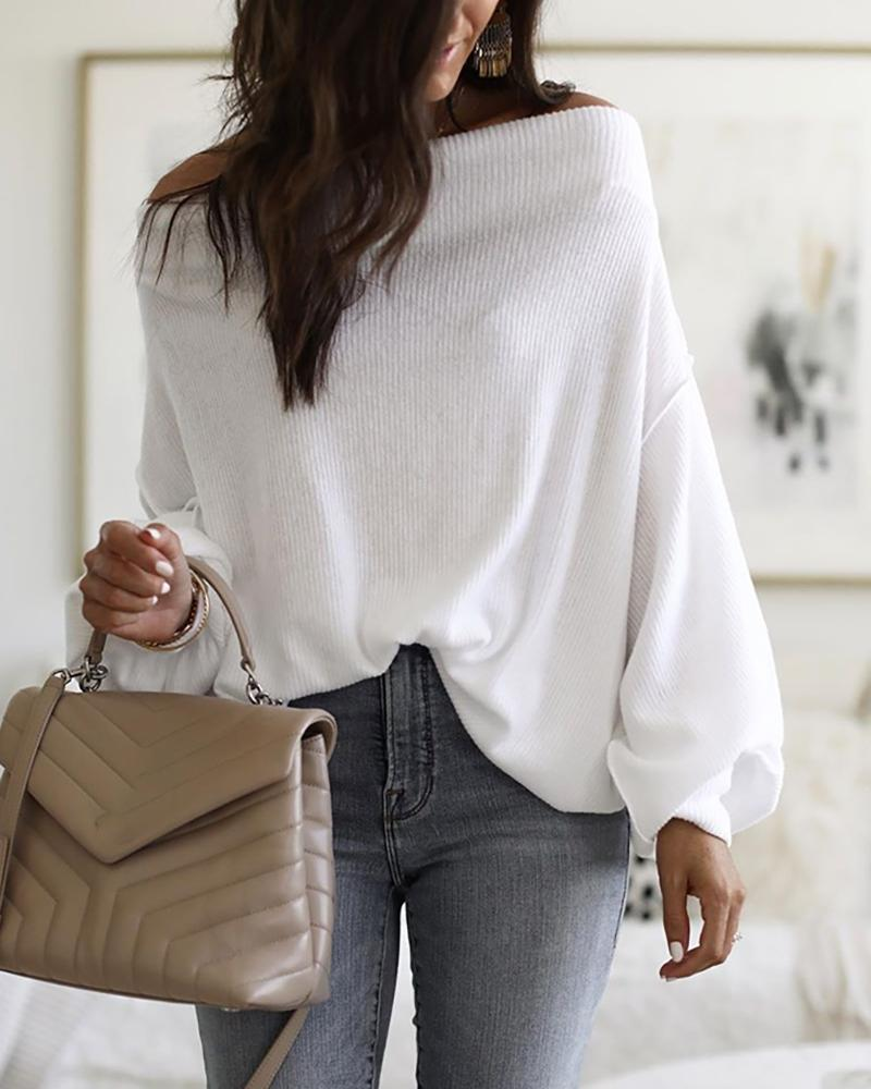 Off Shoulder Lantern Sleeve Ribbed Sweater фото