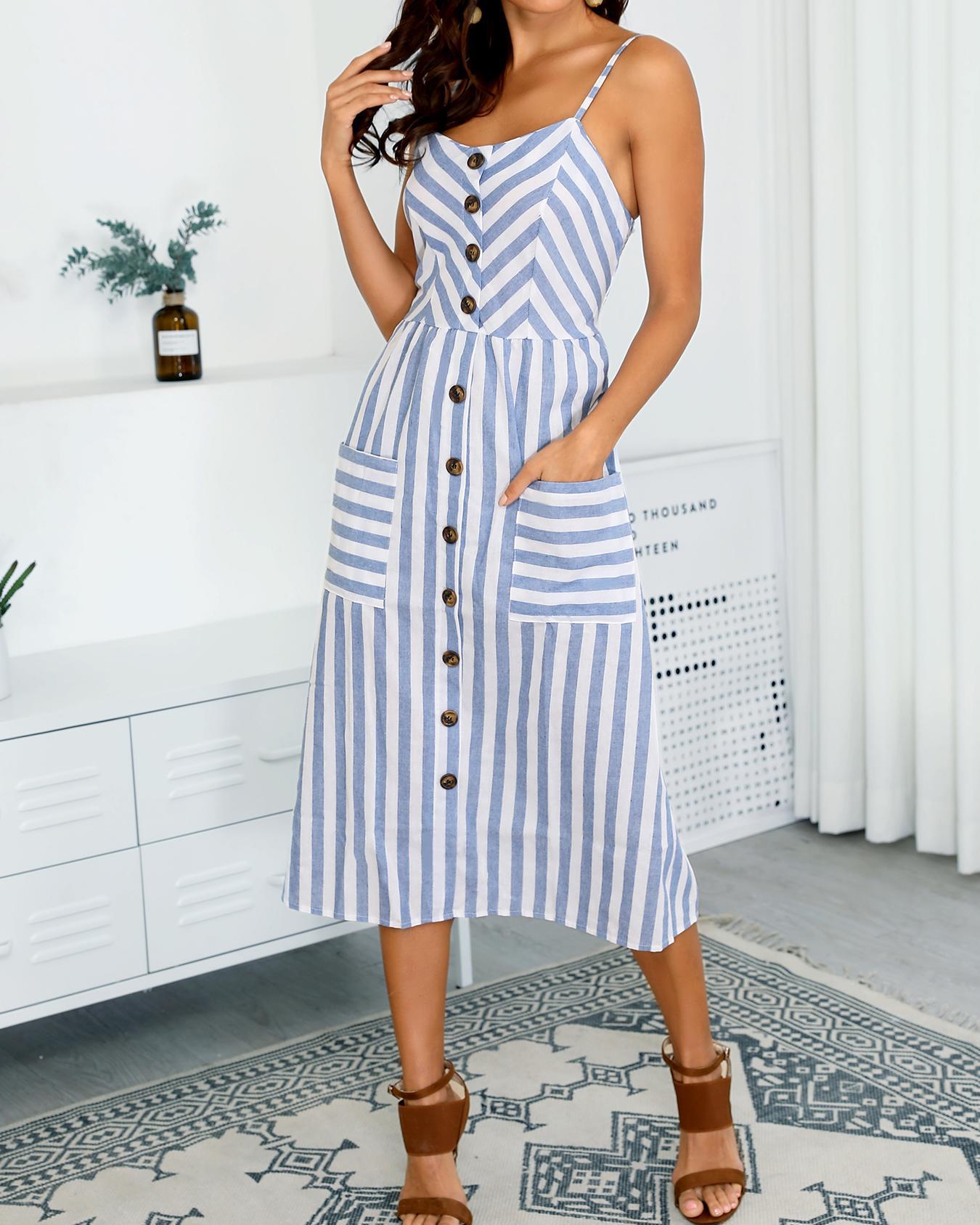 Single Breasted Pocket Design Striped Dress