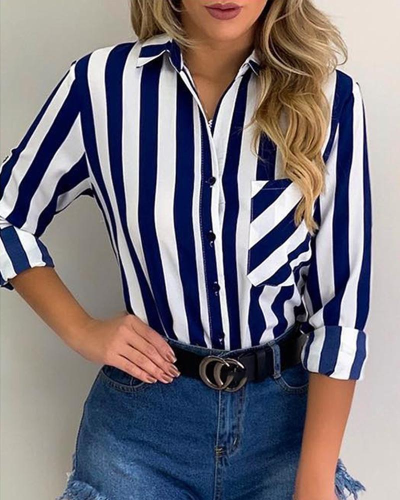 Striped Pocket Button Up Casual Shirt фото