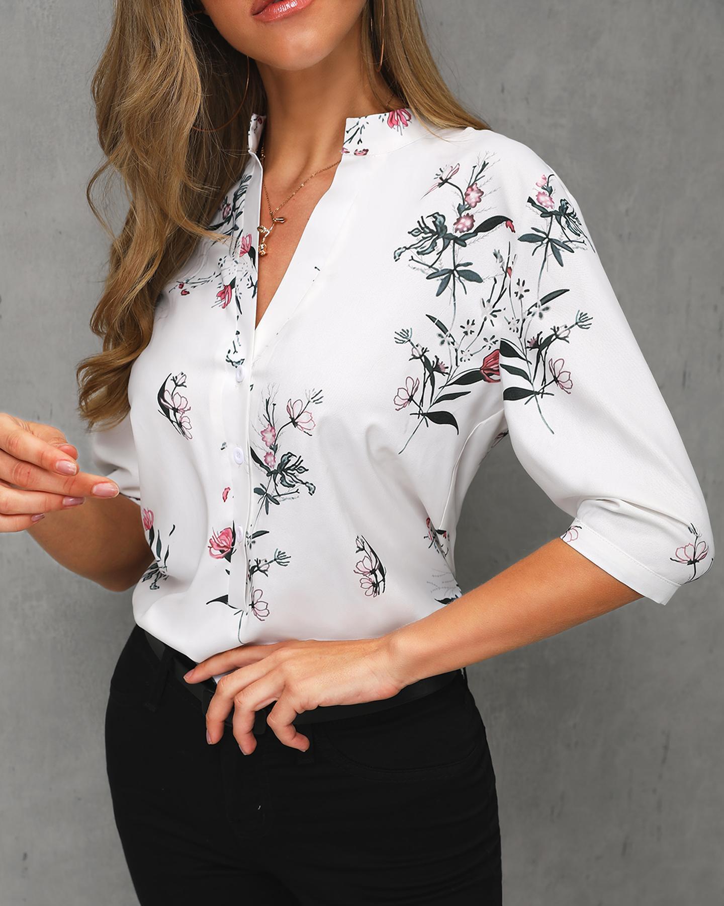 Floral Print V-Neck Casual Shirt