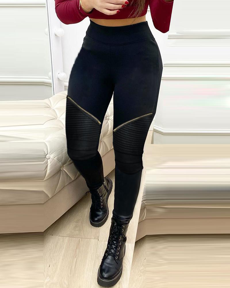 chicme / Calça skinny com zíper de cintura alta e franzida