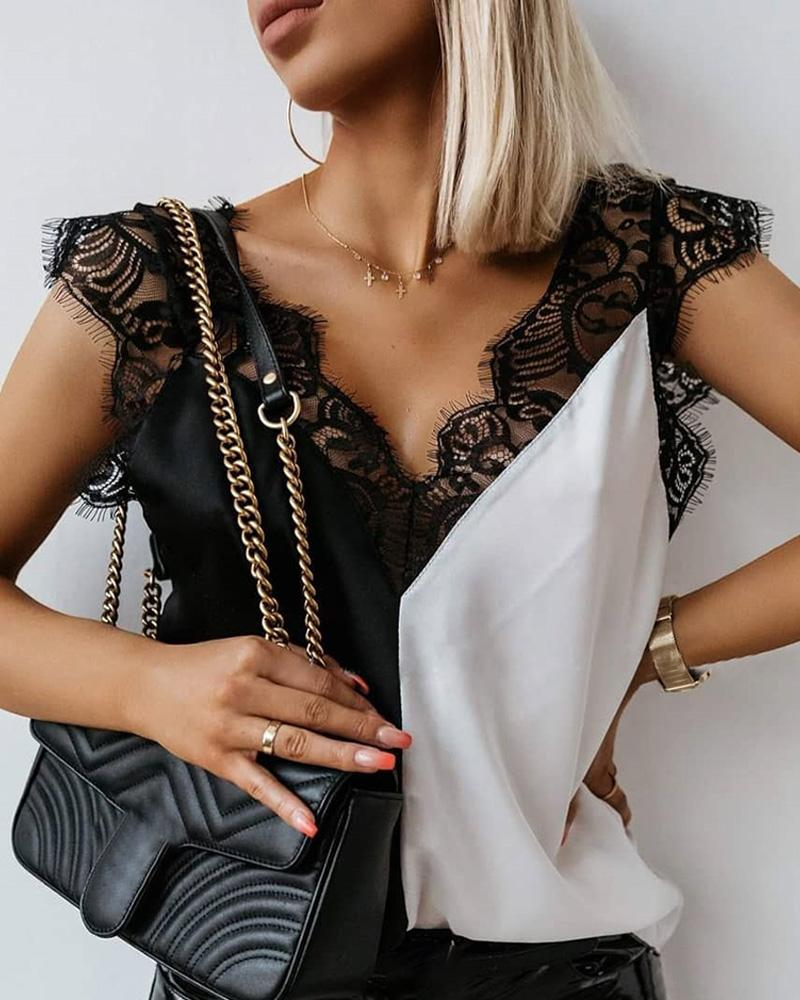 V-neck Stitching Lace Top фото