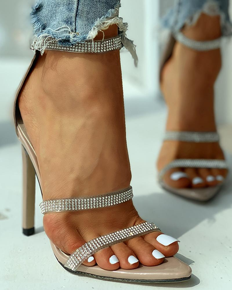 Studded Ankle Strap Open Toe Thin Heels фото