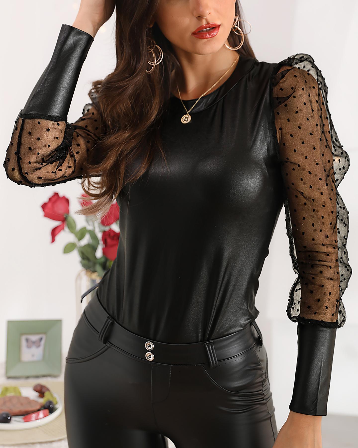 joyshoetique / Faux Leather Dot Mesh Puffed Sleeve Blouse