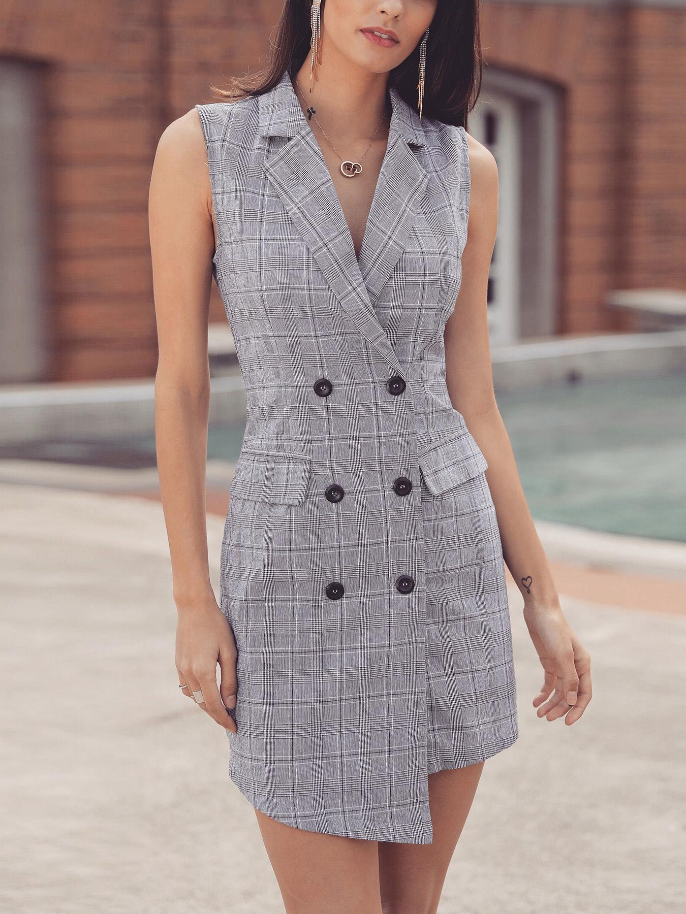 Plaid Print Double-Breasted Irregular Dress