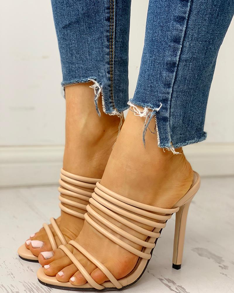 Купить со скидкой Solid Multi-Strap Thin Heeled Sandals