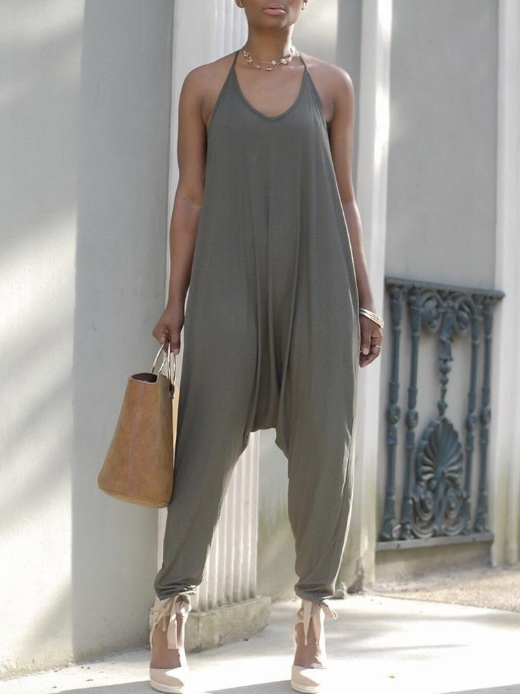 Fashion Solid Halter Casual Harem Jumpsuit фото