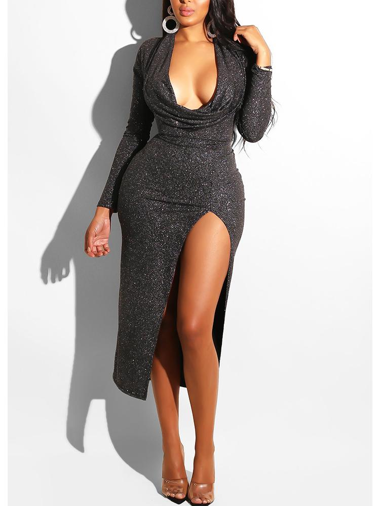 ivrose / Glitter Cowl Neck Thigh Slit Dress