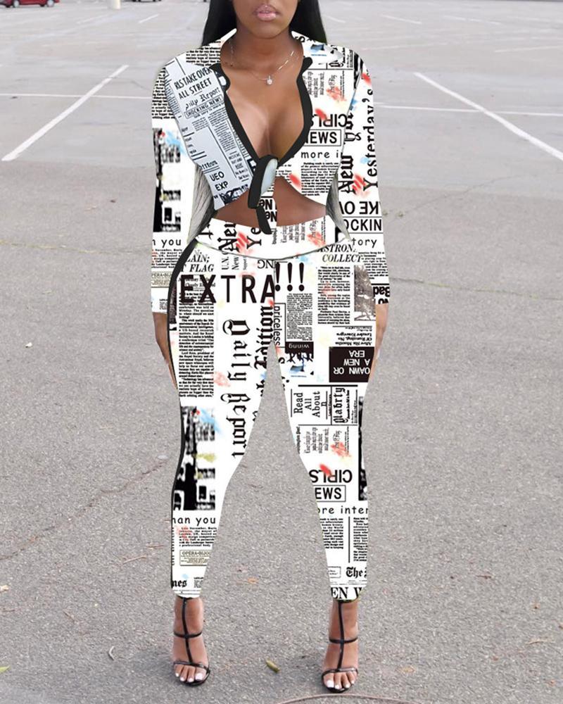 ivrose / Conjuntos de top y pantalones atados con estampado Newspapaer