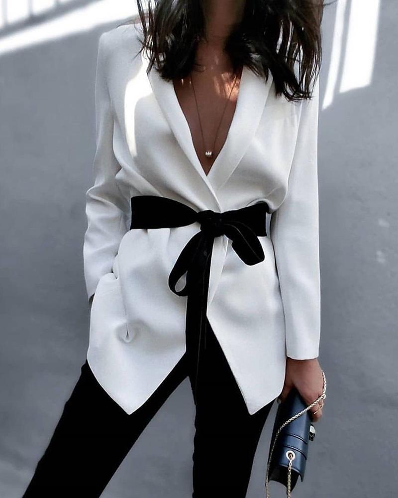 ivrose / Abrigo casual de manga larga liso