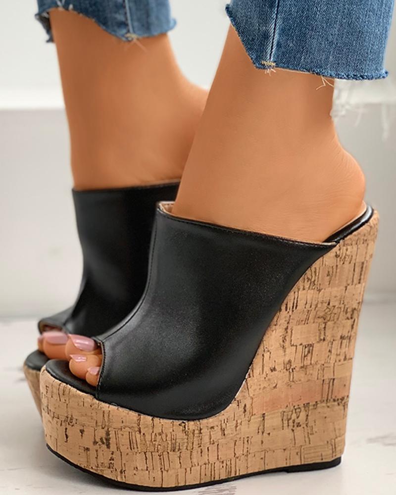 joyshoetique / Colorblock Peep Toe Wedge Platform Heel