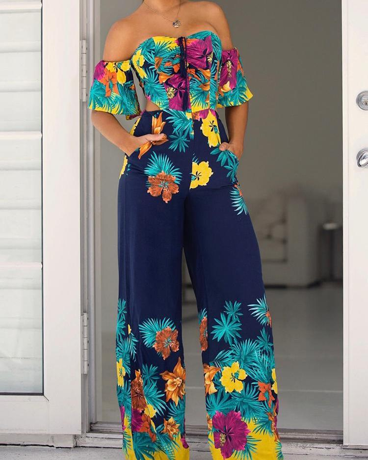 Floral Print Bell Sleeve Tie Back Wide Leg Jumpsuits