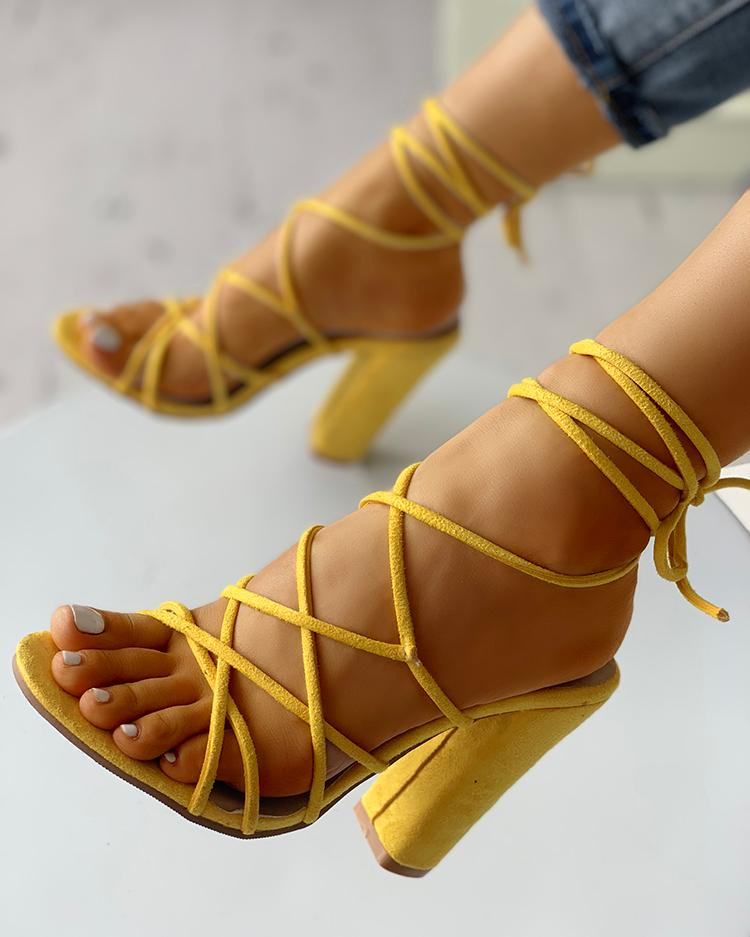 Sexy Lace-Up Open Toe Chunky Pump, Yellow