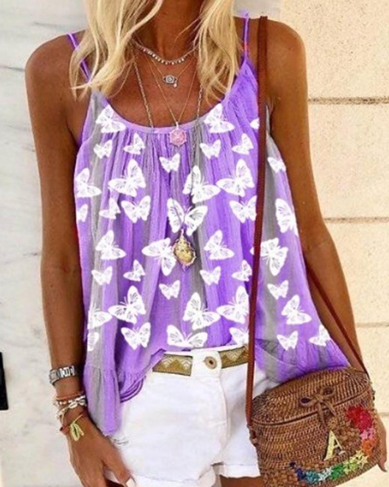 Butterfly Print Cami Top фото