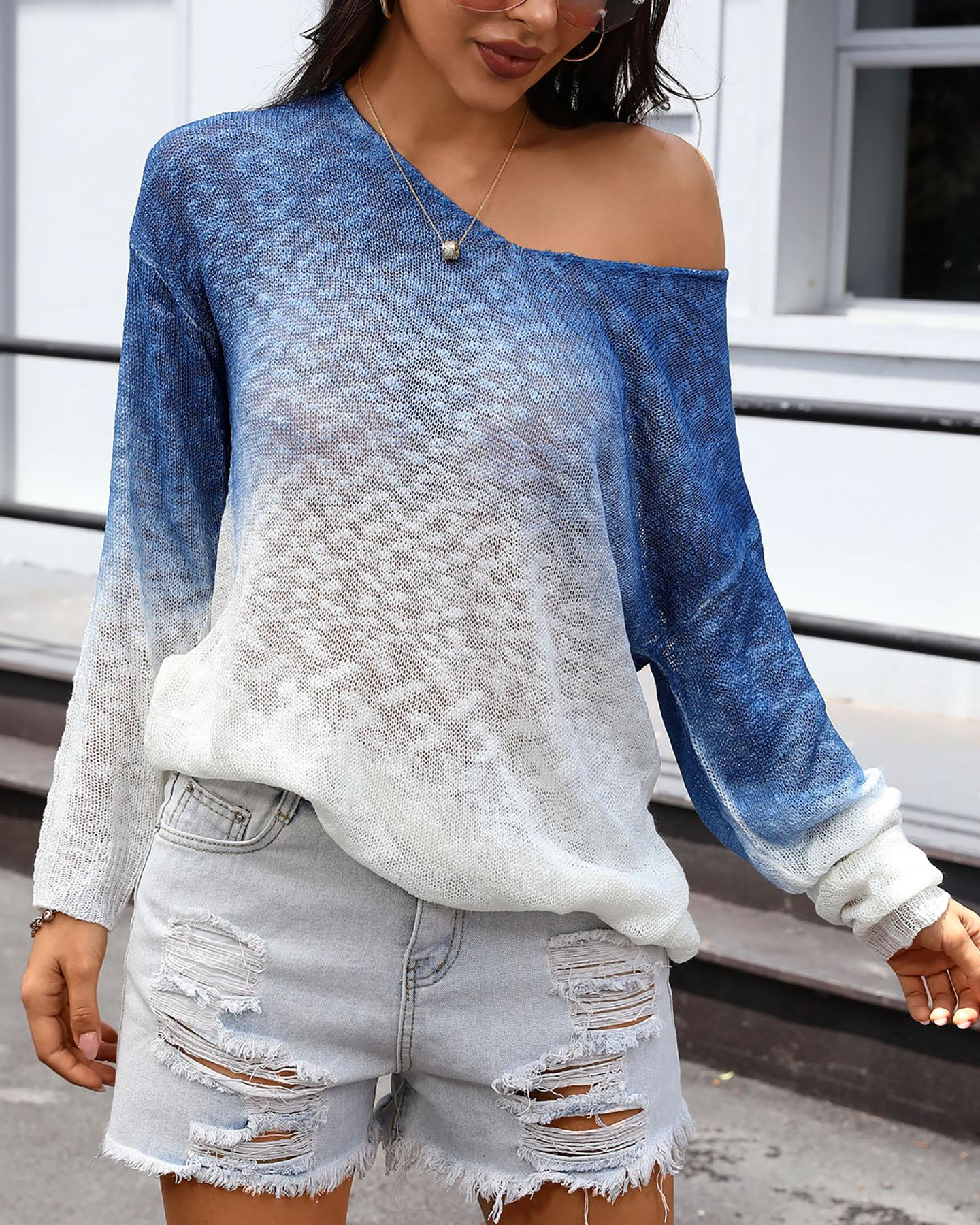 Cozy Breathable Gradient Oversized Cover-up фото