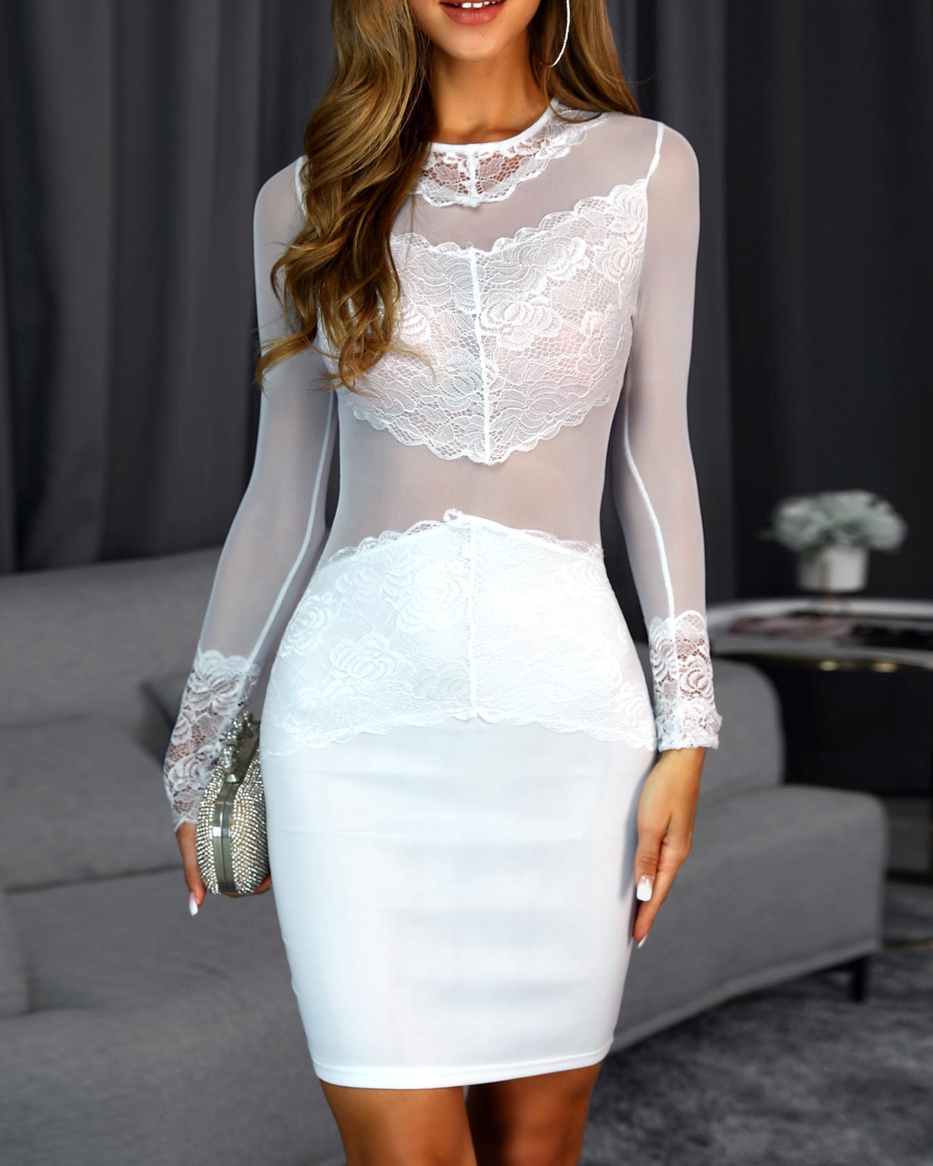 ivrose / Vestido ajustado con aplicación de encaje de malla transparente