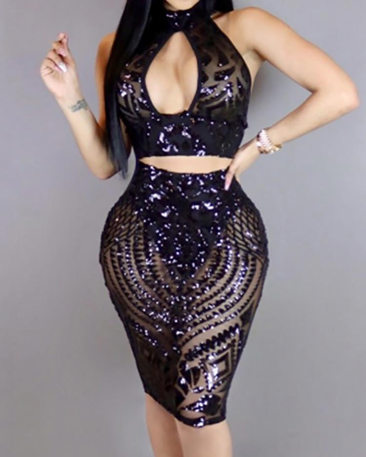 2PCs Sparkly Sequin Cropped Bodycon Skirt Sets