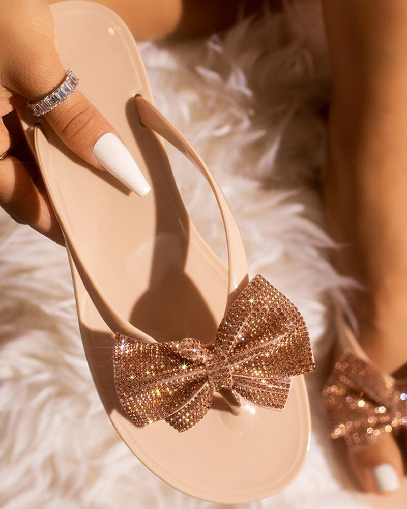 Studded Bowknot Design Open Toe Sandals фото