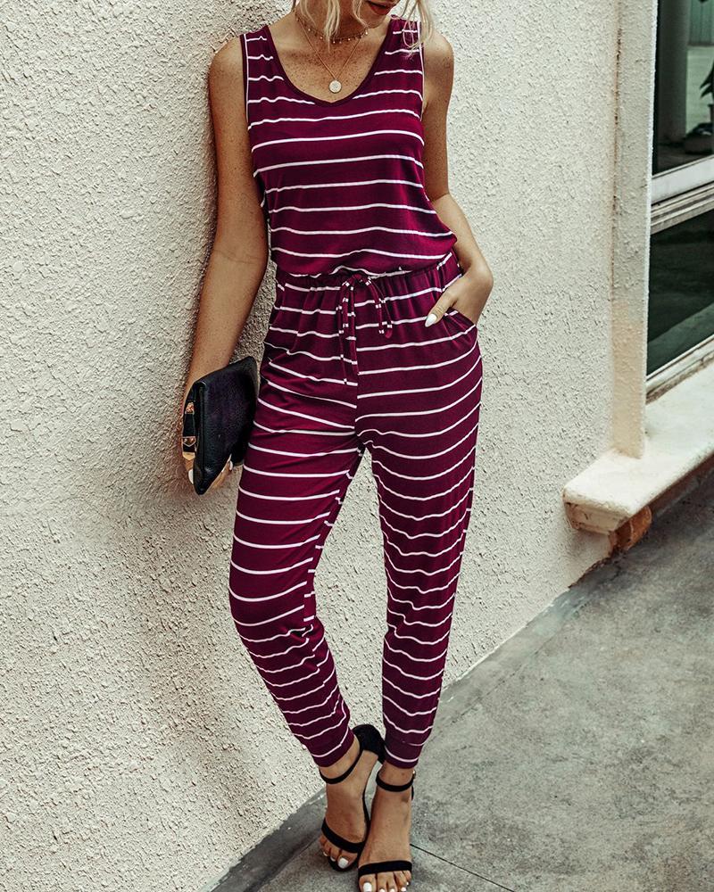 Striped Round Neck Sleeveless Jumpsuit фото