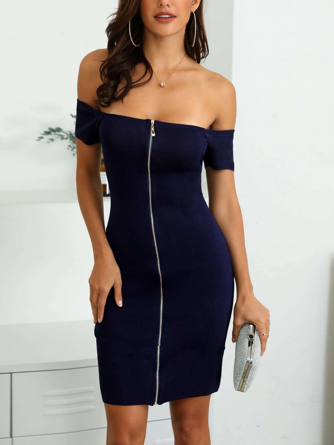 Off Shoulder Zip Up Bodycon Dress