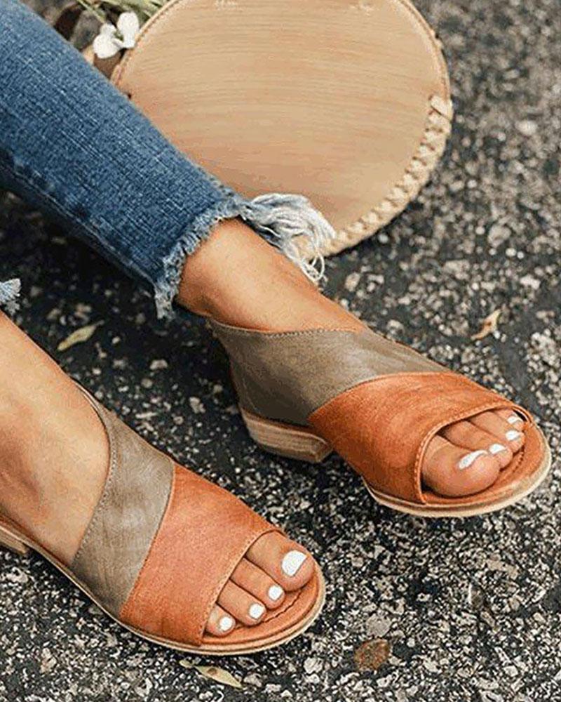 Open Toe Colorblock Insert Cutout Sandals фото
