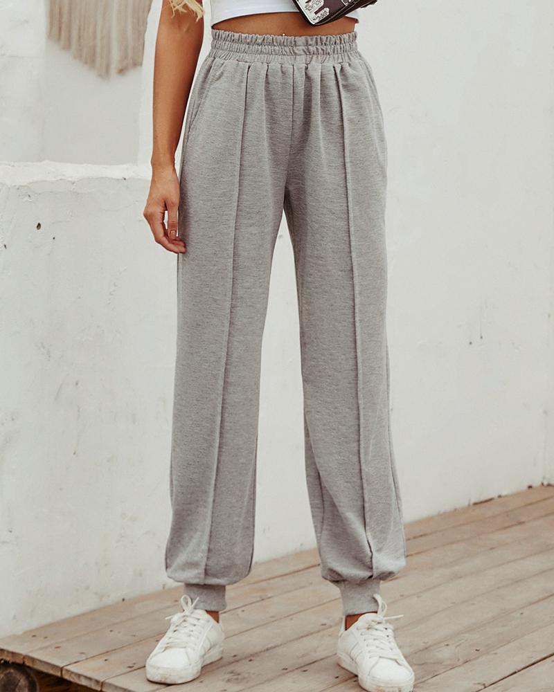 Elastic Waist Casual Cuffed Pants фото