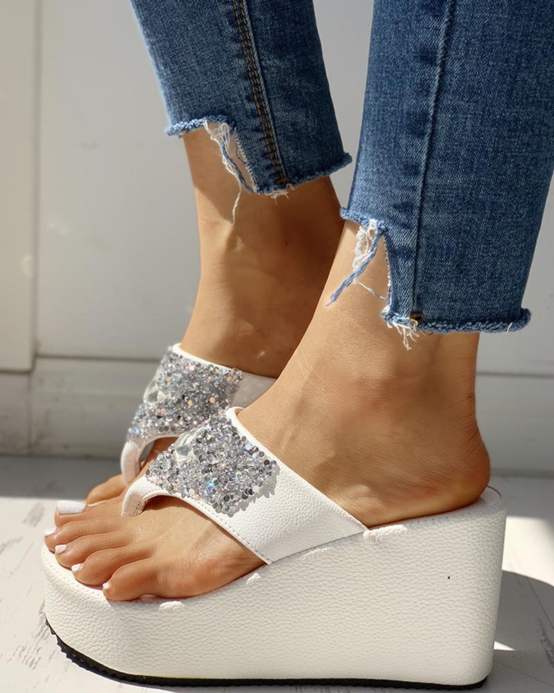 Studded Toe Post Platform Wedge Sandals фото
