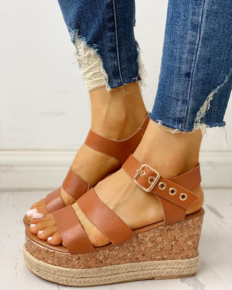 chicme / Eyelet Buckled Espadrille Wedge Sandals