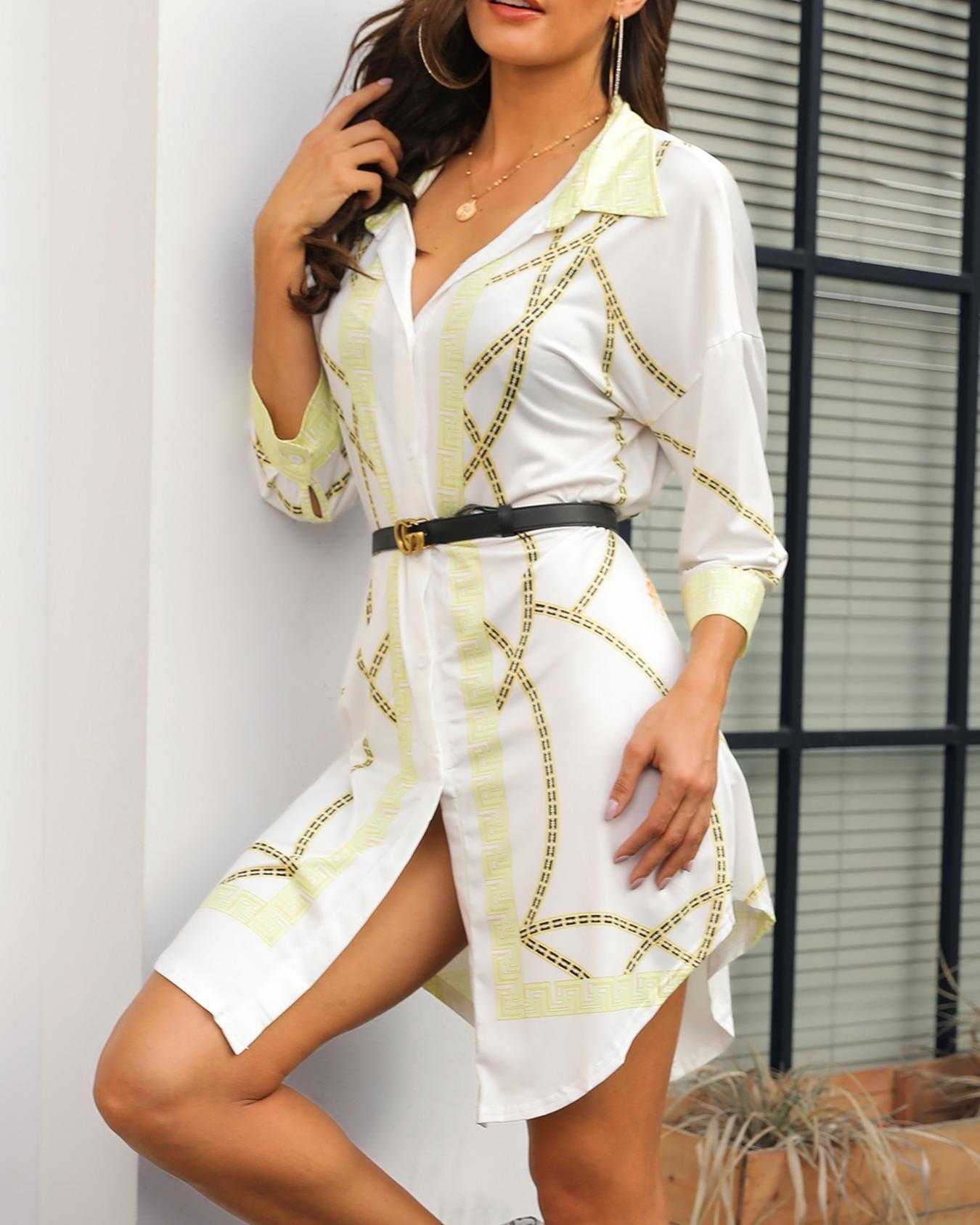 Scarf Print Curve Hem Shirt Dress фото