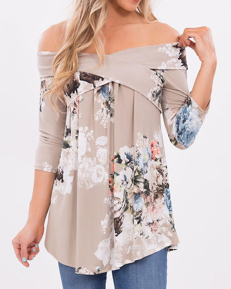 Stylish Floral Off Shoulder Casual Blouse фото