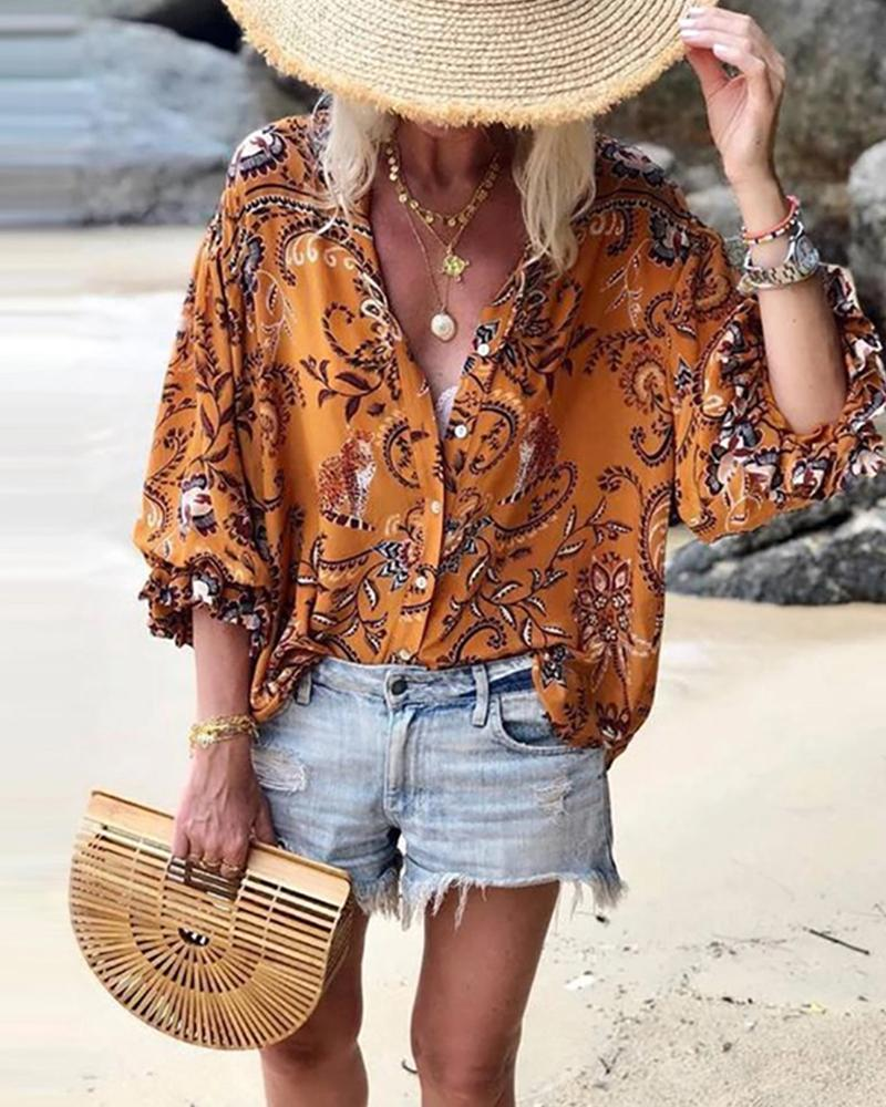 V-neck Print Cropped Sleeves Blouse