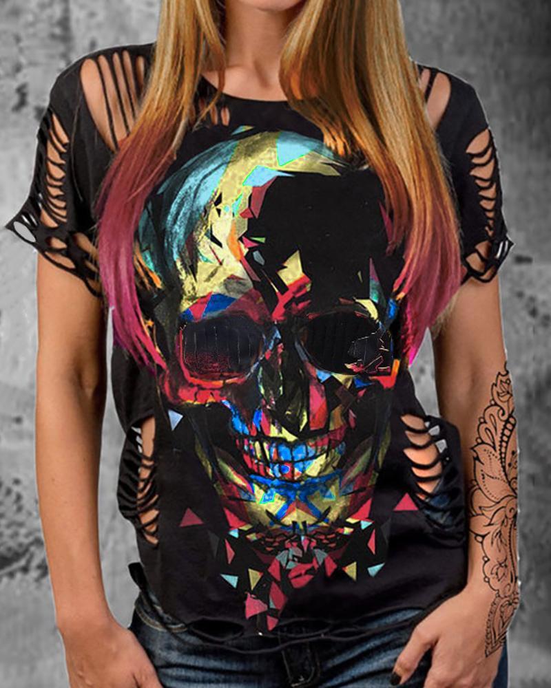 Skull Print Colorblock Cutout T-shirt фото