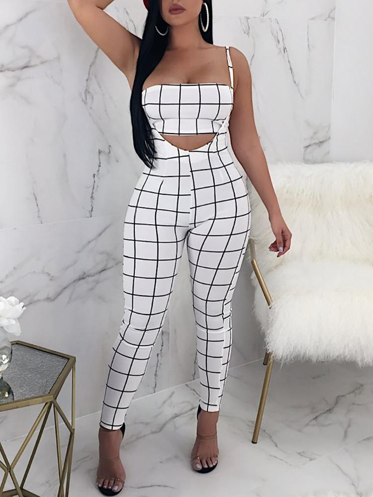 boutiquefeel / Plaid Cropped Tube Top& Suspender Pant Sets