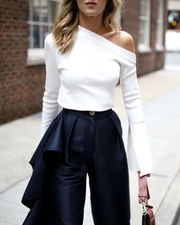 Slit Flare Sleeve Solid Slim Fit T-Shirt фото