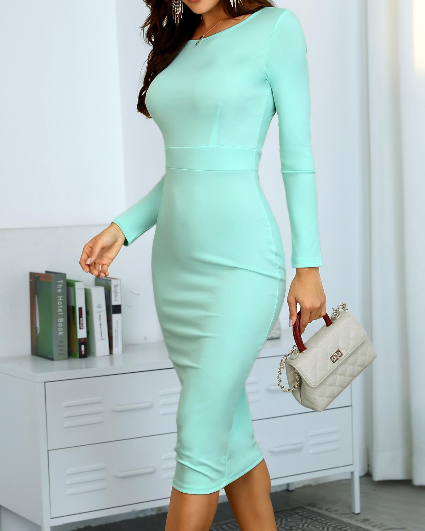 Trendy Solid High Waist Midi Bodycon Dress