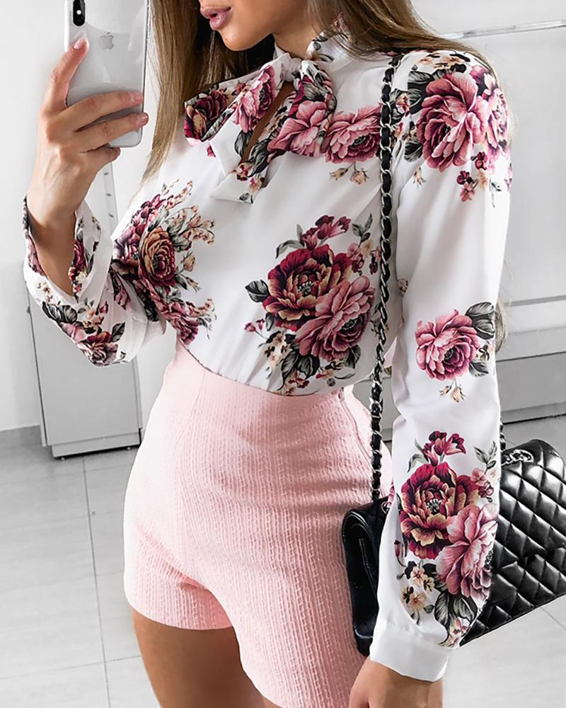 Tied Neck Floral Print Long Sleeve Blouse