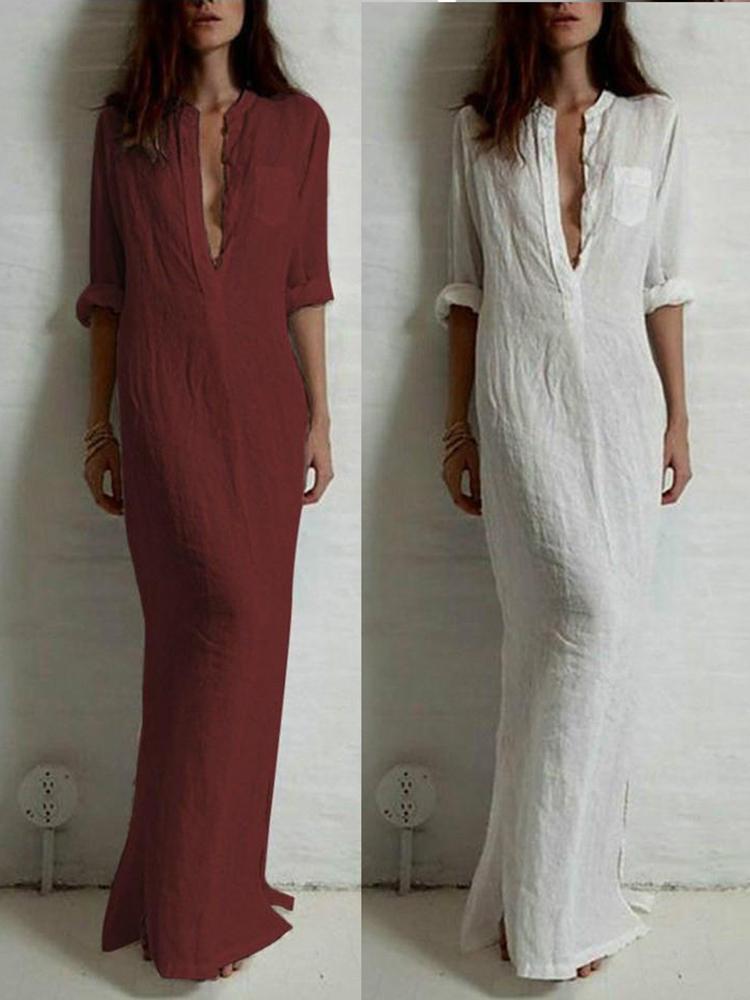 Women's Long Sleeve Deep v Split Maxi Dress Dress ShirtSexy Slim Fit Long Dress Casual Dresses Evening Dress