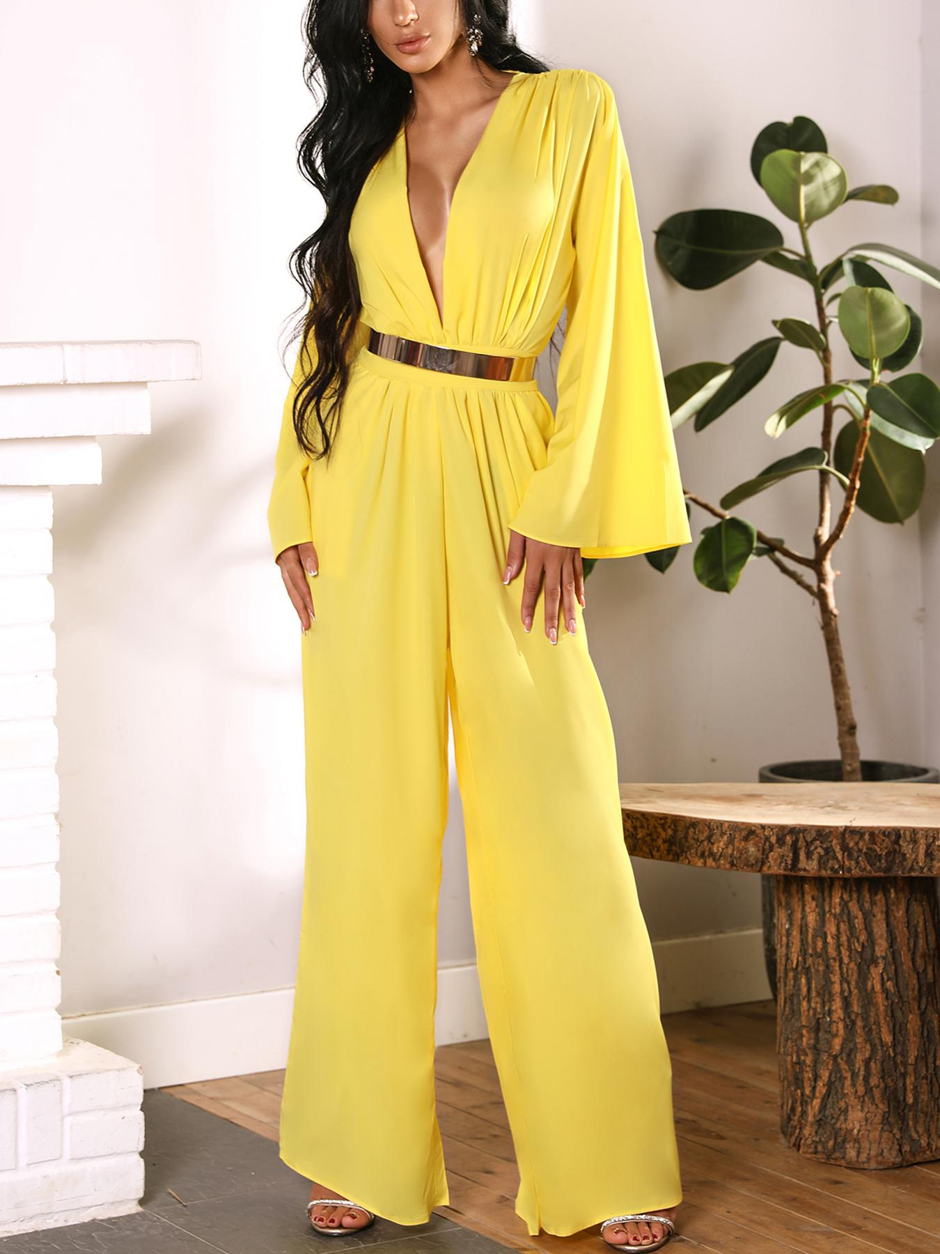 chicme / Ruched Plunge Flared Sleeve Wide Leg Jumpsuit