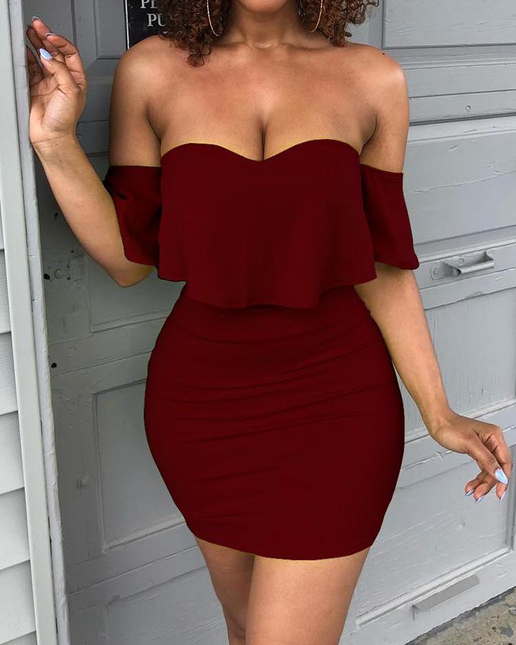 ivrose / Querida sólida fora do ombro mini vestido