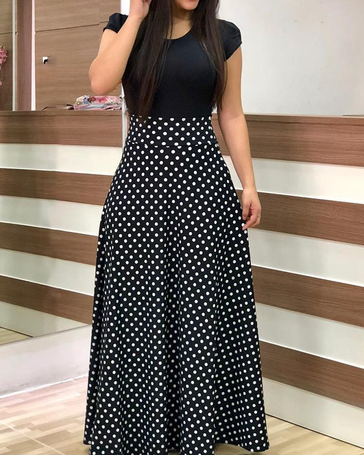 joyshoetique / Short Sleeve Polka Dots Print Patchwork Maxi Dress